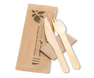 GREENMARK WOODEN CUTLERY SET FORK / KNIFE / NAPKIN - 400 - CTN