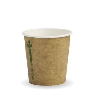 BIOPAK Single Wall CUP - 4oz  - Kraft with Green Line - 50 - ( BCK-4-GL ) - SLV