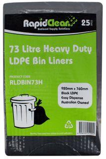 RAPID CLEAN 73L LDPE BLACK BIN LINERS -25- SLV