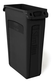 RUBBERMAID SLIM JIM WASTE CONTAINER - BLACK - 60.5L