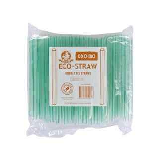 AUSTRAW ECO-STRAW OXO BIODEGRADABLE BUBBLE TEA GREEN STRIPE - 1000 - CTN