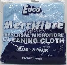 EDCO MERRIFIBRE MICROFIBRE CLEANING CLOTH BLUE 3 PACK ( 58010 ) - 12 - CTN