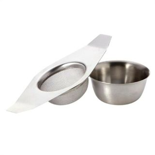 TEA STRAINER WITH DRIP BOWL STAINLESS STEEL ( GH725 ) -EACH