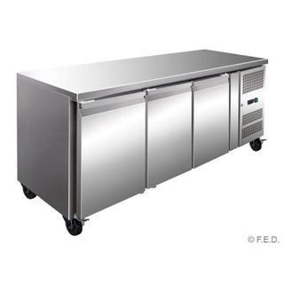 3 DOOR TROPICALISED GASTRONORM BENCH FRIDGE 1795mm W x 700mm D x 850mm H ( GN3100TN ) - EACH ( SPECIAL ORDER FREIGHT APPLIES )