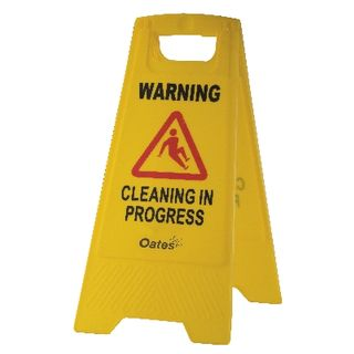 "OATES - WARNING SIGN - YELLOW ""WARNING/CLEANING IN PROGRESS""  (IW-106 / 165486) - EACH"
