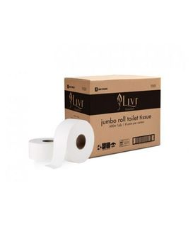LIVI 1101 ESSENTIALS 1PLY 600MTR JUMBO TOILET ROLL - 8 ROLLS - CTN