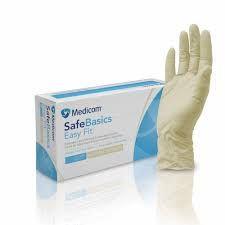 MEDICOM SAFEBASICS EASYFIT LATEX PD GLOVES - MEDIUM - 100 -PKT
