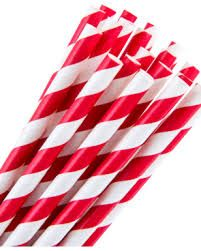 GREENMARK RED STRIPE REGULAR PAPER STRAWS (6MM X 197MM) - 50 - SLV
