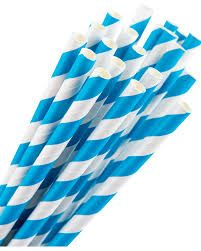 GREENMARK BLUE STRIPE REGULAR PAPER STRAWS (6MM X 197MM) - 50 - SLV