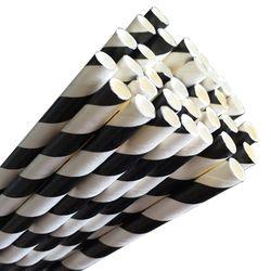 GREENMARK BLACK STRIPE COCKTAIL PAPER STRAWS (5.5MM X 120MM) - 50 - SLV