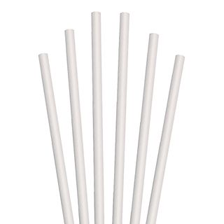 GREENMARK PLAIN WHITE COCKTAIL PAPER STRAWS (5.5MM X 120MM) - 50 - SLV