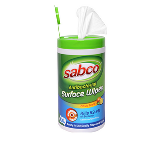 SABCO ANTIBACTERIAL SURFACE CLEANING WIPES - 100 WIPES / CANISTER