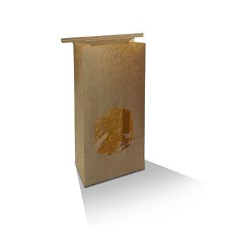 GREENMARK MEDIUM KRAFT BROWN TIN-TIE WITH WINDOW BAG - 120mm x 65mm x 246mm - 500 - CTN ( TTBWM )
