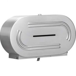 STAINLESS STEEL TWIN JUMBO TOILET ROLL DISPENSER - D494S - EACH