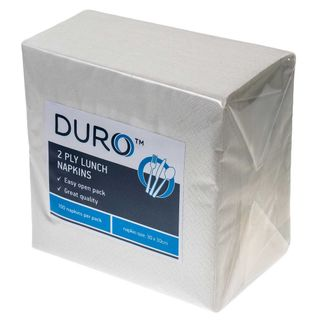 CAPRICE DURO LUNCH 2PLY WHITE 1/4 FOLD NAPKIN - 100 - PKT