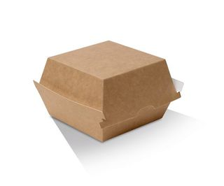 GREENMARK BROWN & WHITE CARDBOARD BURGER BOX 102X105X80MM ( KB2 ) - 125 - SLV