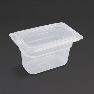 VOGUE POLYPROPYLENE 1/9 SIZE 100MM / 850ML GASTRONORM CONTAINER WITH LID - GJ529 - 4 - PACK