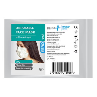 AEROMASK DISPOSABLE 3LPY CIVILIAN GRADE FACE MASK WITH EAR LOOPS ( CM01 ) - 50 - PACK