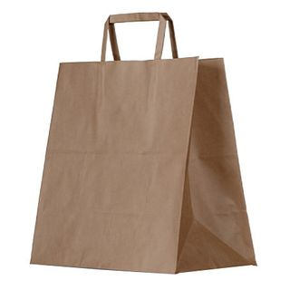 GREENMARK KRAFT MEAL DELIVERY BAG WITH FLAT HANDLES, 305 L x 310 W x 175mm G - 250 - CTN