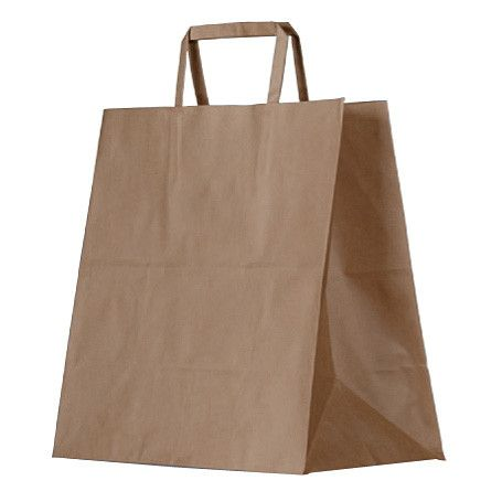 GREENMARK KRAFT MEAL DELIVERY BAG WITH FLAT HANDLES, 305 L x 310 W x 175mm G - 250 - CTN ( UBER SIZE )