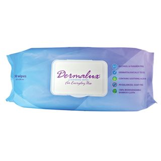 DERMALUX CLEANSING WIPES, 23x30cm, PH BALANCED SOAP, ALCOHOL & PARABEN FREE - 12 PACKS X 50 - CTN