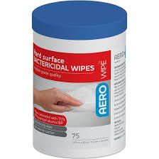 AEROWIPE HARD SURFACE BATERICIDAL WIPES 70% ISOPROPYL - 75 WIPES / TUB - 12 - CTN