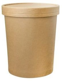 PINNACLE 32OZ KRAFT HOT / COLD FOOD CONTAINER + LID COMBO - 25 - SLV