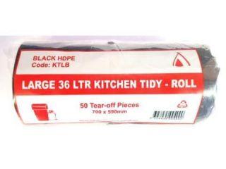 "TP 36L BLACK  ""LARGE"" KITCHEN TIDY BAG - 50 / ROLL"