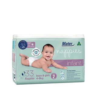 MATER INFANT NAPPIES SIZE 2 ( 4 - 8KG ) - (33 PACK X 6) - 198 - CTN