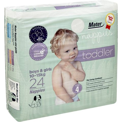 MATER TODDLER NAPPIES SIZE 4 ( 10 - 15KG ) - (24 PACK X 4) - 96 - CTN