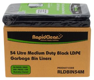 "RAPID CLEAN 54L BLACK""MEDIUM DUTY"" BIN LINERS - 250-CTN"