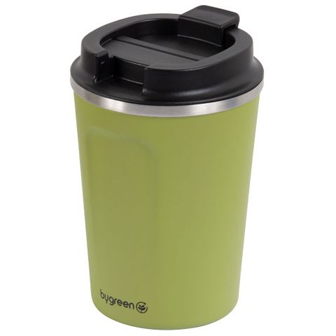 GO GREEN ' OLIVE ' REUSABLE COFFEE CUP - DOUBLE WALL STAINLESS STEEL 380ML - EACH