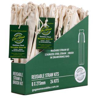 GO GREEN REUSABLE STAINLESS STEEL STRAW AND BRUSH KIT - 24 - INNER