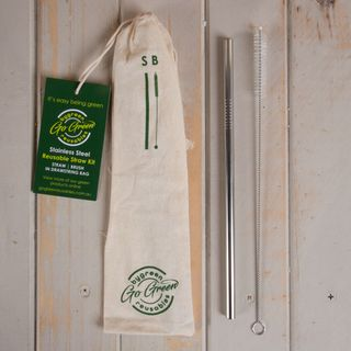 GO GREEN REUSABLE STAINLESS STEEL STRAW AND BRUSH KIT - EACH