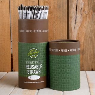 GO GREEN REUSABLE STAINLESS STEEL STRAW 8MM X 215MM - 50 - TUB PACK