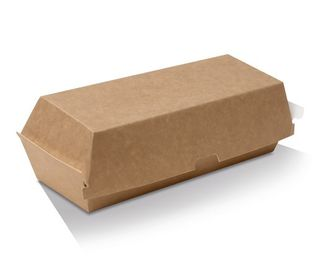 GREENMARK BROWN & WHITE CARDBOARD HOT DOG BOX 202X70X75MM ( KB4 ) - 400 - CTN
