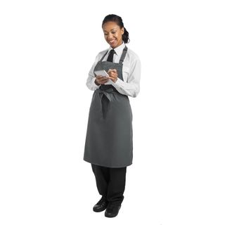 BIB APRON STORM GREY POLYESTER WITH ADJUSTABLE HALTER ( BB153 ) - EACH