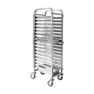 STAINLESS STEEL GASTRONORM TROLLEY - FITS 16 x 1/1 SIZE GN TRAY ( TR-602 )