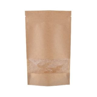 BROWN PAPER STAND UP POUCH WITH FULL RECTANGULAR WINDOW, 500G 190X265MMX110MM - 500 - CTN