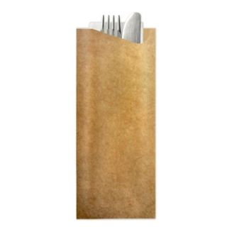 POCHETTA KRAFT POUCH 2PLY NATURAL NAPKIN, 85mm x 190mm - 350 -