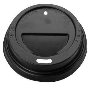 PINNACLE LID - BLACK 6oz - 8oz (80mm) TRAVEL COFFEE CUP LID - 1000