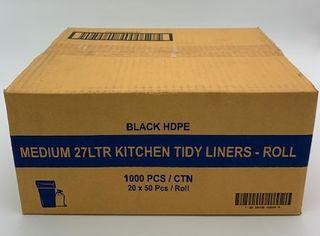 """TP 27L BLACK """"MEDIUM' KITCHEN TIDY BAG - 1000-CTN"""