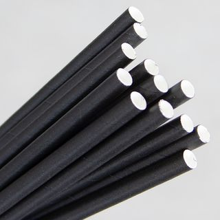 ECO-STRAW PLAIN BLACK REGULAR PAPER STRAWS - 250 - PKT