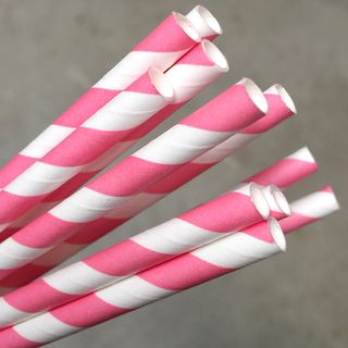 ECO-STRAW PINK STRIPE REGULAR PAPER STRAWS - 2500 -CTN