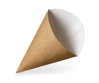 GREENMARK BROWN & WHITE CARDBOARD FOOD CONE LARGE ( 256x190mm ) - FCCL - 500 - CTN