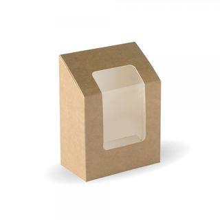 BIOPAK Wrap Wedge with window - 90x50x120mm - FSC Mix - kraft - 100 - ( BB-WRAP ) - SLV