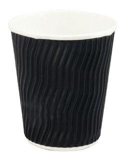 CAPRI COOL WAVE CORRUGATED COFFEE CUP - BLACK - 8OZ - 25 - SLV