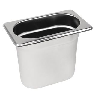 VOGUE 1/9 SIZE 150MM DEEP S/STEEL GASTRONORM PAN - DN729 - EACH
