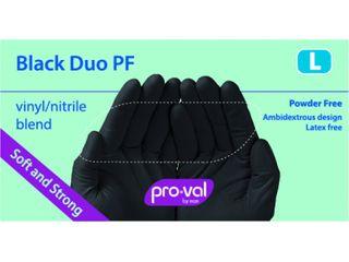 PRO-VAL BLACK DUO PF GLOVES - LARGE - BLACK VINYL / NITRILE BLEND - 100 - PKT