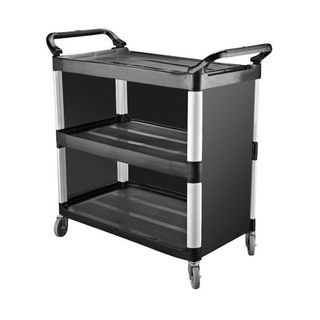 CATER-RAX BLACK PLASTIC UTILITY CART / TROLLEY - 3 SHELF WITH CLOSED SIDES - 1020X500X960MM - TR-136 - EACH